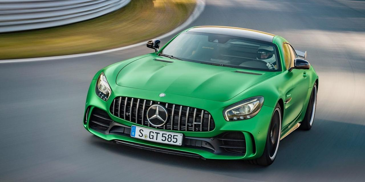 """<p>The GT R is the most track-ready car Mercedes sells, housing a 577-horsepower version of the company's stellar 4.0-liter twin-turbo V-8. It's a torque monster with a thunderous exhaust note. <a href=""""https://www.ebay.com/itm/2018-Mercedes-Benz-AMG-GT-R/323845526555?hash=item4b66b2941b:g:ZG8AAOSwXYpdFQZf"""" target=""""_blank"""">This one</a> has less than 1000 miles on the clock, and you can by it.</p>"""