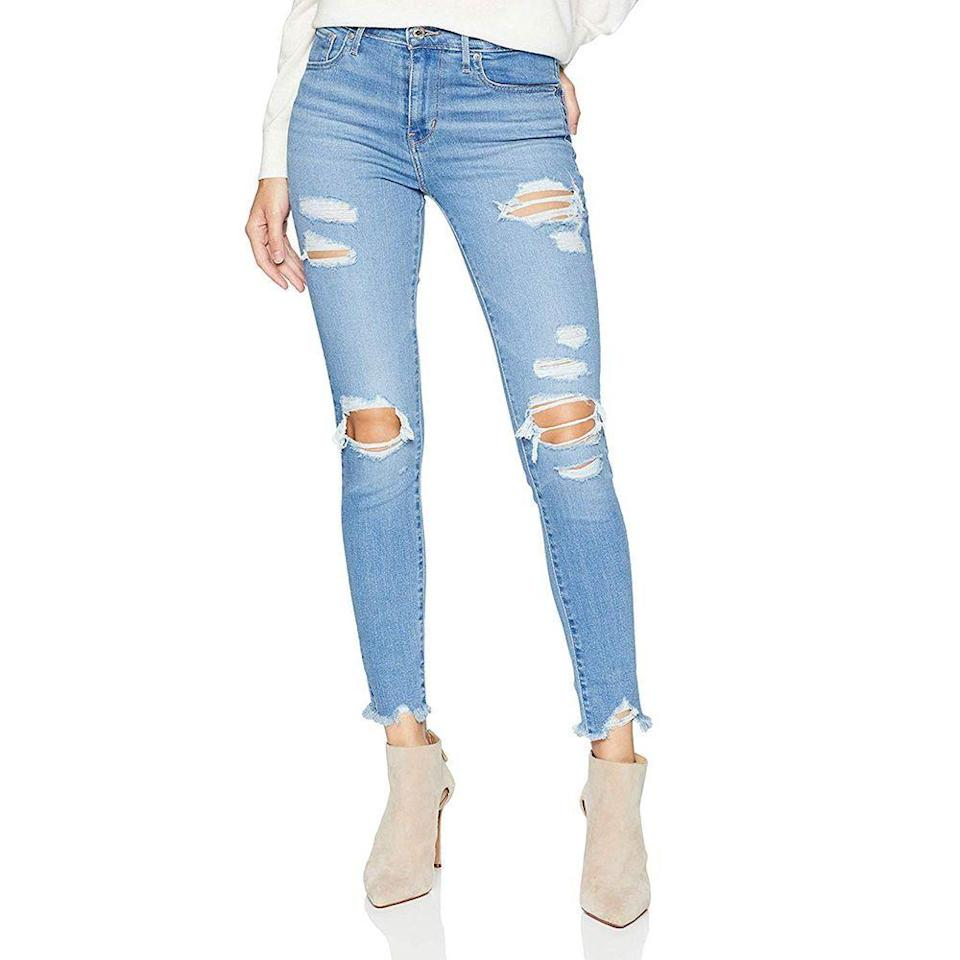 """<p><strong>Levi's</strong></p><p>amazon.com</p><p><strong>$45.44</strong></p><p><a href=""""https://www.amazon.com/dp/B078MWCP9Z?tag=syn-yahoo-20&ascsubtag=%5Bartid%7C10070.g.35058456%5Bsrc%7Cyahoo-us"""" rel=""""nofollow noopener"""" target=""""_blank"""" data-ylk=""""slk:Shop Now"""" class=""""link rapid-noclick-resp"""">Shop Now</a></p><p>Before you get rid of your jeans, make sure there's nothing else you can use them for. If the bottoms were fraying too much, consider snipping them to give yourself a new pair of casual jean shorts to wear on beach days.</p>"""