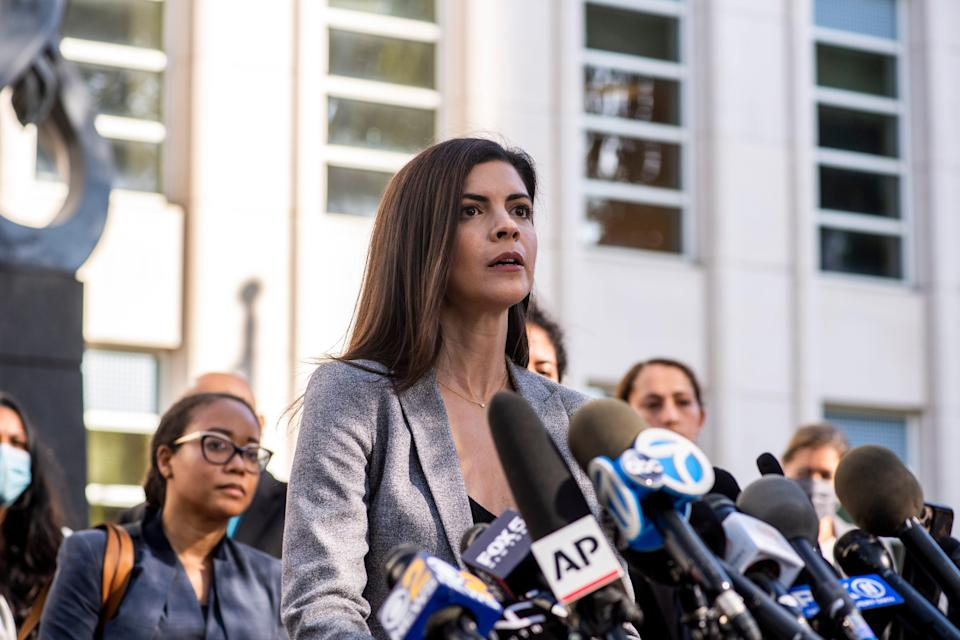 U.S. Attorney Jacquelyn Kasulis speaks to the press on the guilty verdict for singer R. Kelly at the Brooklyn Federal Court House on Sept. 27, 2021, in New York City.
