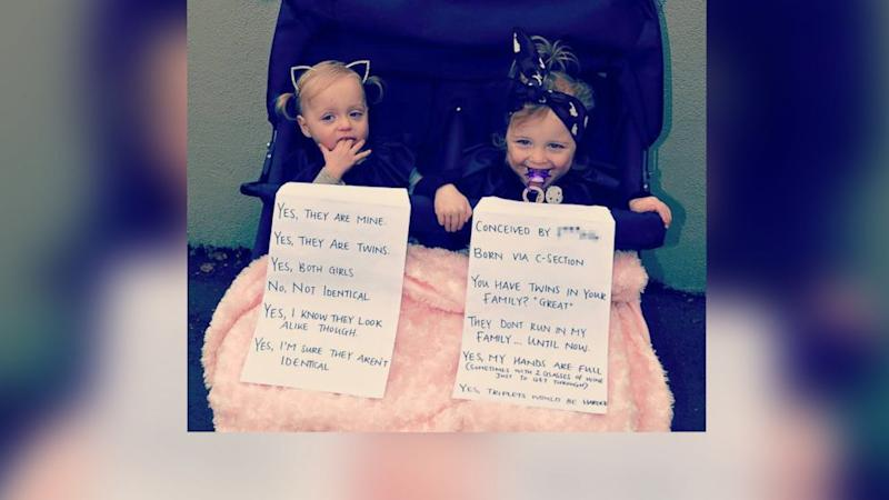 Mom Criticized for Photo of Twins Holding Sarcastic Signs Answering Strangers' Repetitive Questions