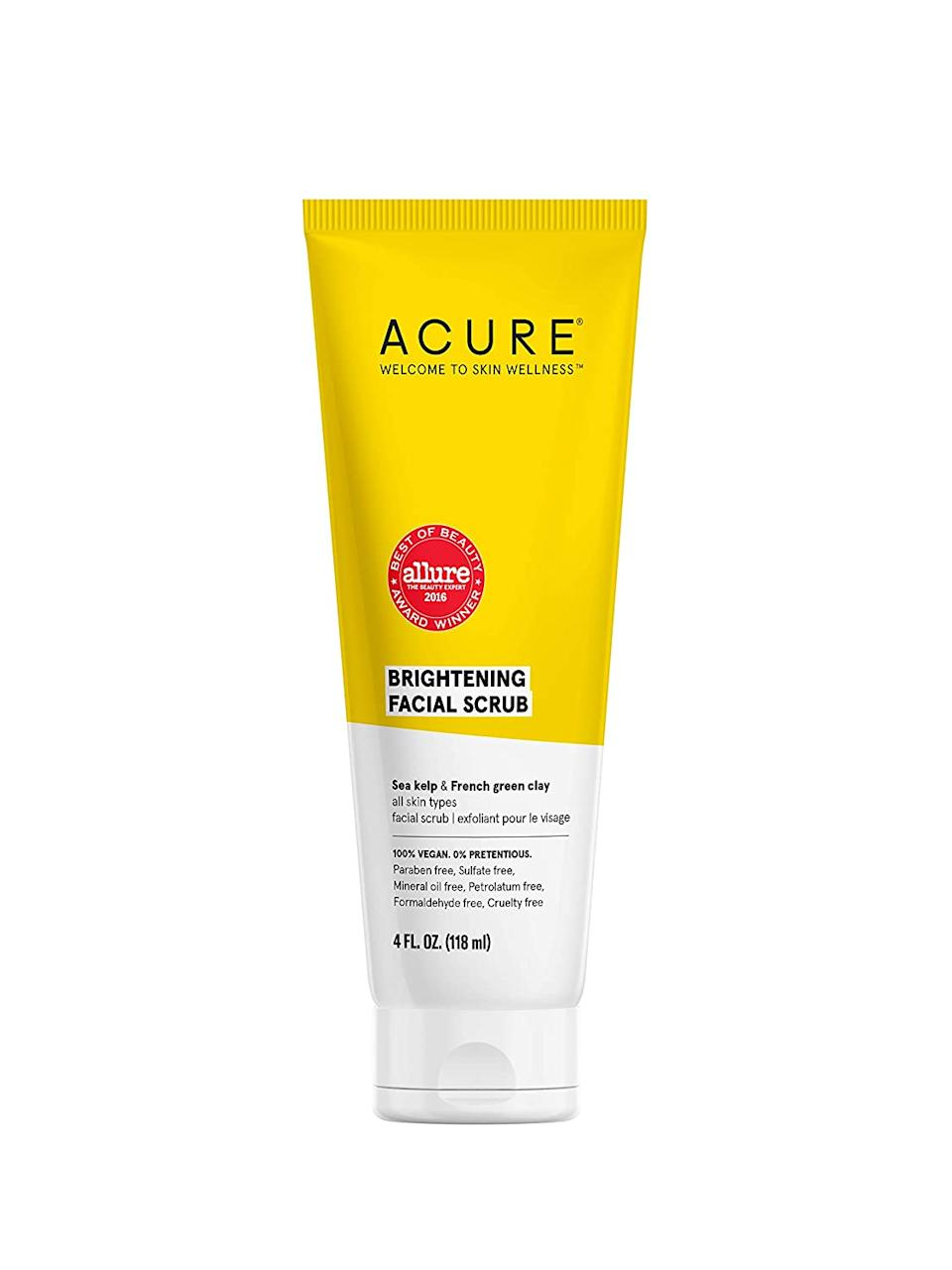 "<h3>Acure Brightening Facial Scrub<br></h3><br>This customer-favorite natural brightening scrub just advanced 18% in the Beauty category — likely bolstered by it's 8,000+ positive reviews. With sea kelp and French green clay, it has some serious detoxifying power that we could all use right about now.<br><br><em>*August 2020 Mover and Shaker</em><br><br><strong>Acure</strong> Brightening Facial Scrub, $, available at <a href=""https://www.amazon.com/ACURE-Brilliantly-Brightening-Facial-Packaging/dp/B003Z4OD24/ref=zg_bsms_beauty_64"" rel=""nofollow noopener"" target=""_blank"" data-ylk=""slk:Amazon"" class=""link rapid-noclick-resp"">Amazon</a>"
