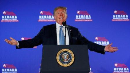 U.S. President Donald Trump speaks at the Nevada Republican Party Convention in Las Vegas, Nevada, U.S., June 23, 2018. REUTERS/Kevin Lamarque