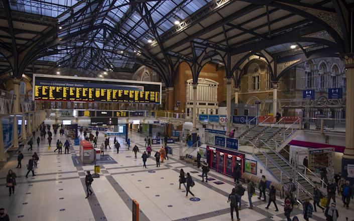 Commuters arrive at Liverpool Street railway station in the City of London, U.K., on Monday, Feb. 1, 2021. As London remodels its streets to accommodate more cyclists and pedestrians during the coronavirus pandemic, its facing a new kind of hurdle: legal challenges - Bloomberg