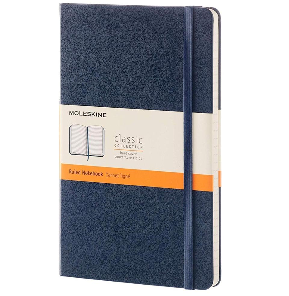 """<p><strong>Moleskine</strong></p><p>amazon.com</p><p><strong>$17.30</strong></p><p><a href=""""https://www.amazon.com/dp/B015NG44Z2?tag=syn-yahoo-20&ascsubtag=%5Bartid%7C10054.g.30645451%5Bsrc%7Cyahoo-us"""" rel=""""nofollow noopener"""" target=""""_blank"""" data-ylk=""""slk:Buy"""" class=""""link rapid-noclick-resp"""">Buy</a></p><p>You both pledged to do more journaling this year, after all.</p>"""