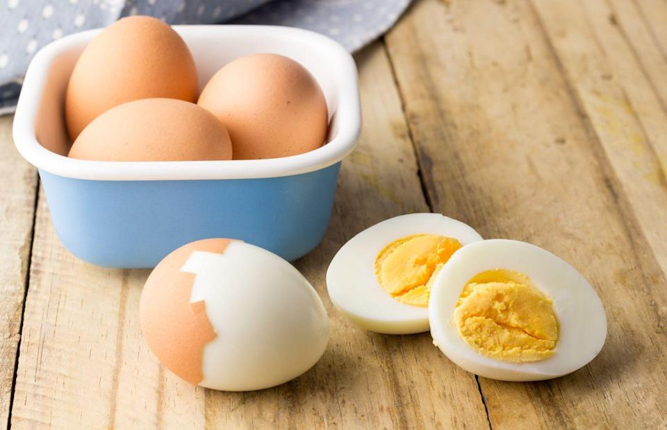 """<p>You can boil eggs in your microwave, but the key to safely doing so is ensuring exact cooking times on a low-power setting, and <strong>creating a small hole for heat pressure to escape</strong>. You'll need to poke a small hole in the bottom of the egg before you submerge in water — no one wants exploding eggs!</p><p><em><a href=""""https://www.goodhousekeeping.com/food-recipes/cooking/tips/a19189/cooking-perfect-hard-boiled-eggs/"""" rel=""""nofollow noopener"""" target=""""_blank"""" data-ylk=""""slk:Get the directions for microwaved hard-boiled eggs »"""" class=""""link rapid-noclick-resp"""">Get the directions for microwaved hard-boiled eggs »</a></em></p><p><strong>RELATED</strong>: <a href=""""https://www.goodhousekeeping.com/cooking-tools/g25918220/best-egg-cookers/"""" rel=""""nofollow noopener"""" target=""""_blank"""" data-ylk=""""slk:The 5 Best Egg Cookers to Buy Right Now"""" class=""""link rapid-noclick-resp"""">The 5 Best Egg Cookers to Buy Right Now</a></p>"""