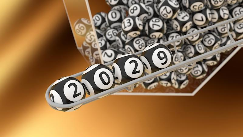 Lottery balls with numbers showing 2029
