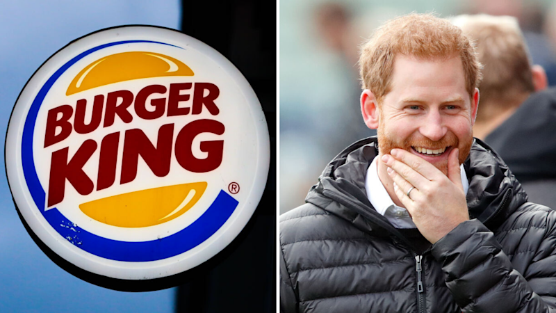 Pictured: Prince Harry, Burger King logo. Images: Getty
