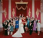 <p>Gathered with members of the royal family for her wedding to Mark Phillips at Westminster Abbey. </p>