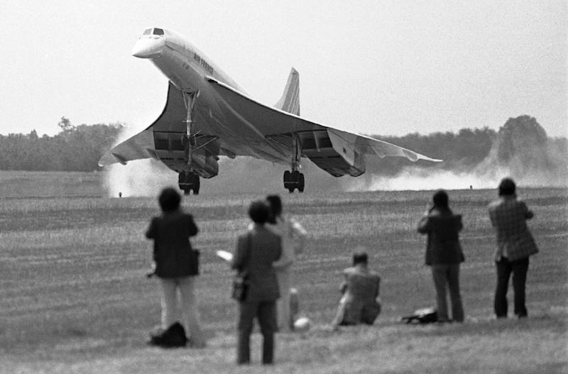 FILE - In this May 24, 1976 photo an Air France Concorde SST lands at Dulles International Airport to inaugurate commercial passenger service between Paris and Washington. Earlier British Airways Concorde landed from London. When the Concorde started flying in the 1970s, hopes were high that the traveling masses would soon streak through the air faster than the speed of sound or soar in planes that hurtled like missiles above the earth's atmosphere. Instead, jetliners still look the same as they did five decades ago and travel times have barely budged. (AP Photo)