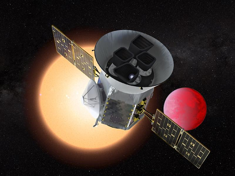 This artist's rendition from NASA shows the Transiting Exoplanet Survey Satellite, or TESS, which launching on a mission to search for the nearest Earth-like planets in our cosmic neighborhood (AFP Photo/Handout)
