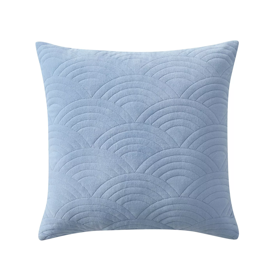 """If you're going for classic and timeless with some summer texture sprinkled in, check out one of our very own R29 throw pillows that features subtle wave stitching. <br><br><strong>Refinery29</strong> Louise Quilted Velvet Decorative Throw Pillow, $, available at <a href=""""https://go.skimresources.com/?id=30283X879131&url=https%3A%2F%2Fgoto.target.com%2FdoRAj7"""" rel=""""nofollow noopener"""" target=""""_blank"""" data-ylk=""""slk:Target"""" class=""""link rapid-noclick-resp"""">Target</a>"""
