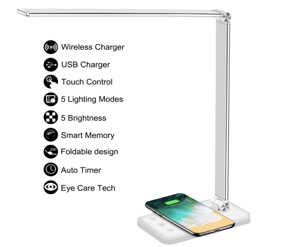 PHOTO: Amazon. Multifunctional LED Desk Lamp with Wireless Charger