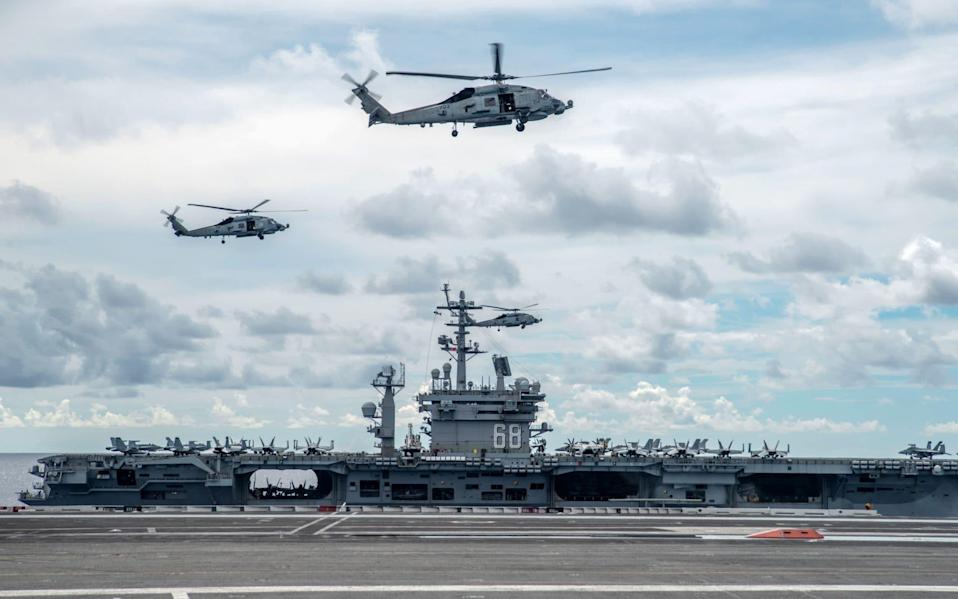TheUSS Nimitz has been performing drills in the South China Sea - Samantha Jetzer/EPA