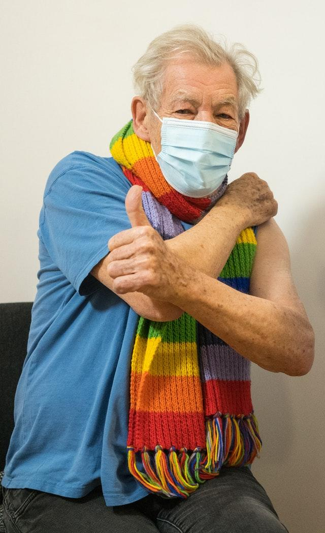 Sir Ian McKellen is among the stars who have been vaccinated