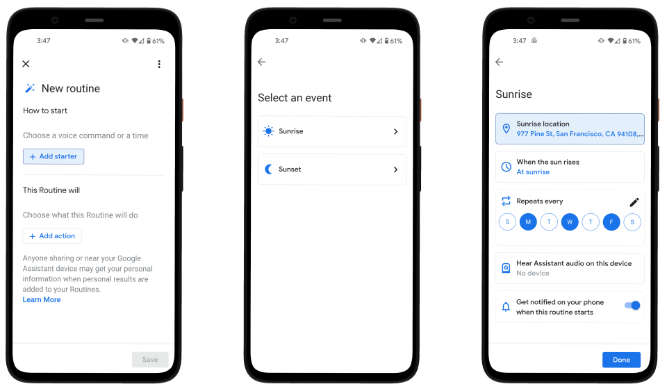 Google Assistant Routines sunset and sunrise. Three screenshots showing Google's new Sunrise and Sunset routines.