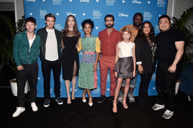 ANAHEIM, CALIFORNIA - AUGUST 24: (L-R) Barry Keoghan, Richard Madden, Angelina Jolie, Lauren Ridloff, Kumail Nanjiani, Lia McHugh, Brian Tyree Henry, Salma Hayek, and Don Lee of 'The Eternals' took part today in the Walt Disney Studios presentation at Disney's D23 EXPO 2019 in Anaheim, Calif. 'The Eternals' will be released in U.S. theaters on November 6, 2020. (Photo by Alberto E. Rodriguez/Getty Images for Disney)