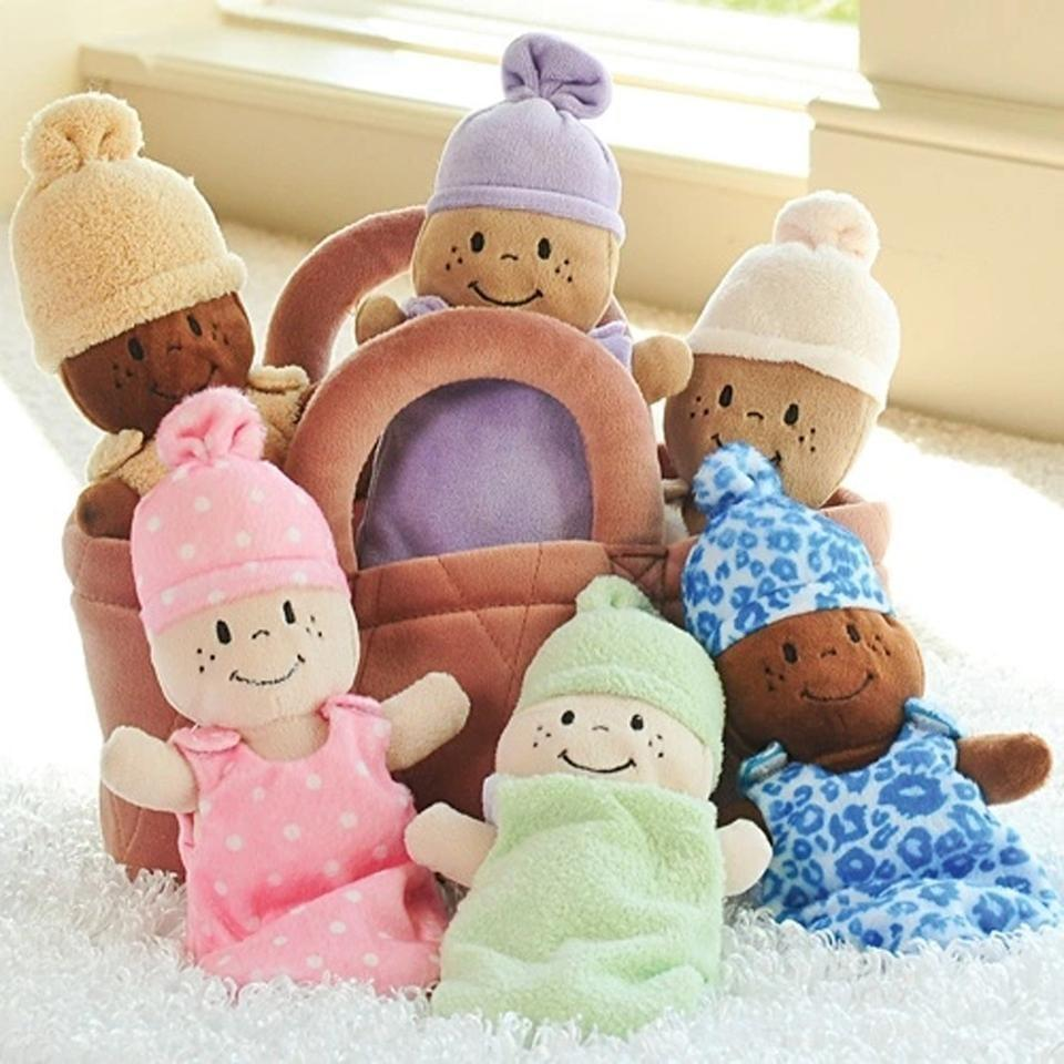 <p>This <span>Basket of Babies</span> ($43) comes with all five soft baby dolls pictured. So cute!</p>