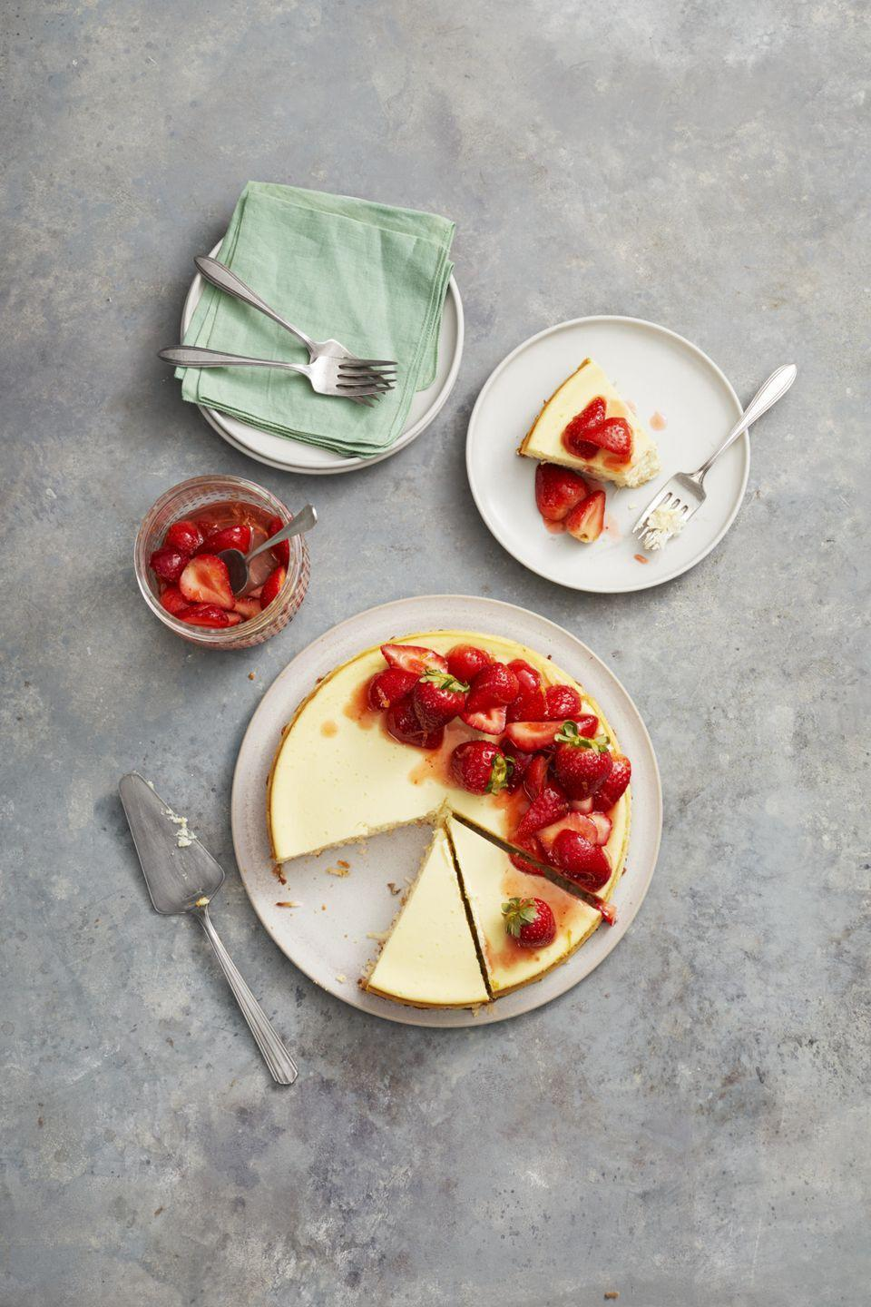 """<p>Fragrant coconut is a terrific (gluten-free!) accent to this berry-laden creamy cheesecake.</p><p><em><a href=""""https://www.goodhousekeeping.com/food-recipes/dessert/a26783658/strawberry-coconut-crust-cheesecake-recipe/"""" rel=""""nofollow noopener"""" target=""""_blank"""" data-ylk=""""slk:Get the recipe for Strawberry Coconut Crust Cheesecake »"""" class=""""link rapid-noclick-resp"""">Get the recipe for Strawberry Coconut Crust Cheesecake »</a></em></p>"""