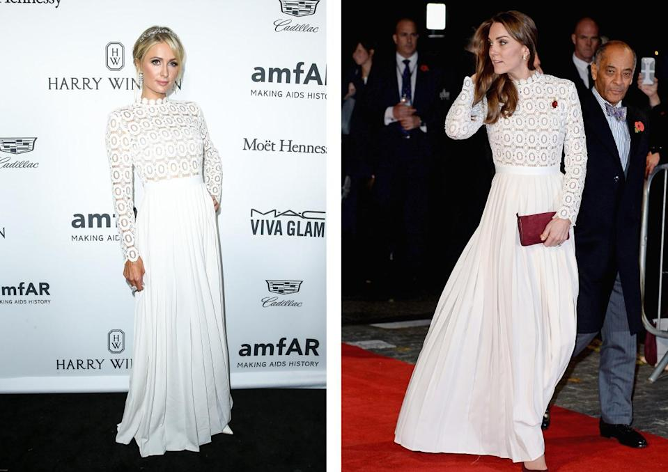 <p>Paris and Kate stepped out in the same Resort 2016 Self Portrait dress in one week. Paris wore hers first, to the amfAR Inspiration Gala, while the Duchess donned the white lace number to the London premiere of 'A Street Cat Named Bob'. <i>[Photo: Rex/Getty]</i></p>