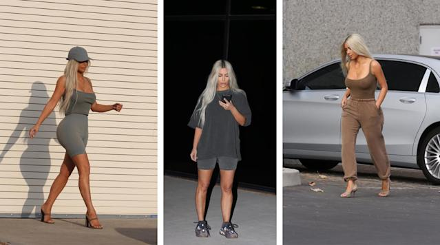 Kim Kardashian served as a walking advertisement for Yeezy Season 6. (Photos: Twitter/KimKardashian)