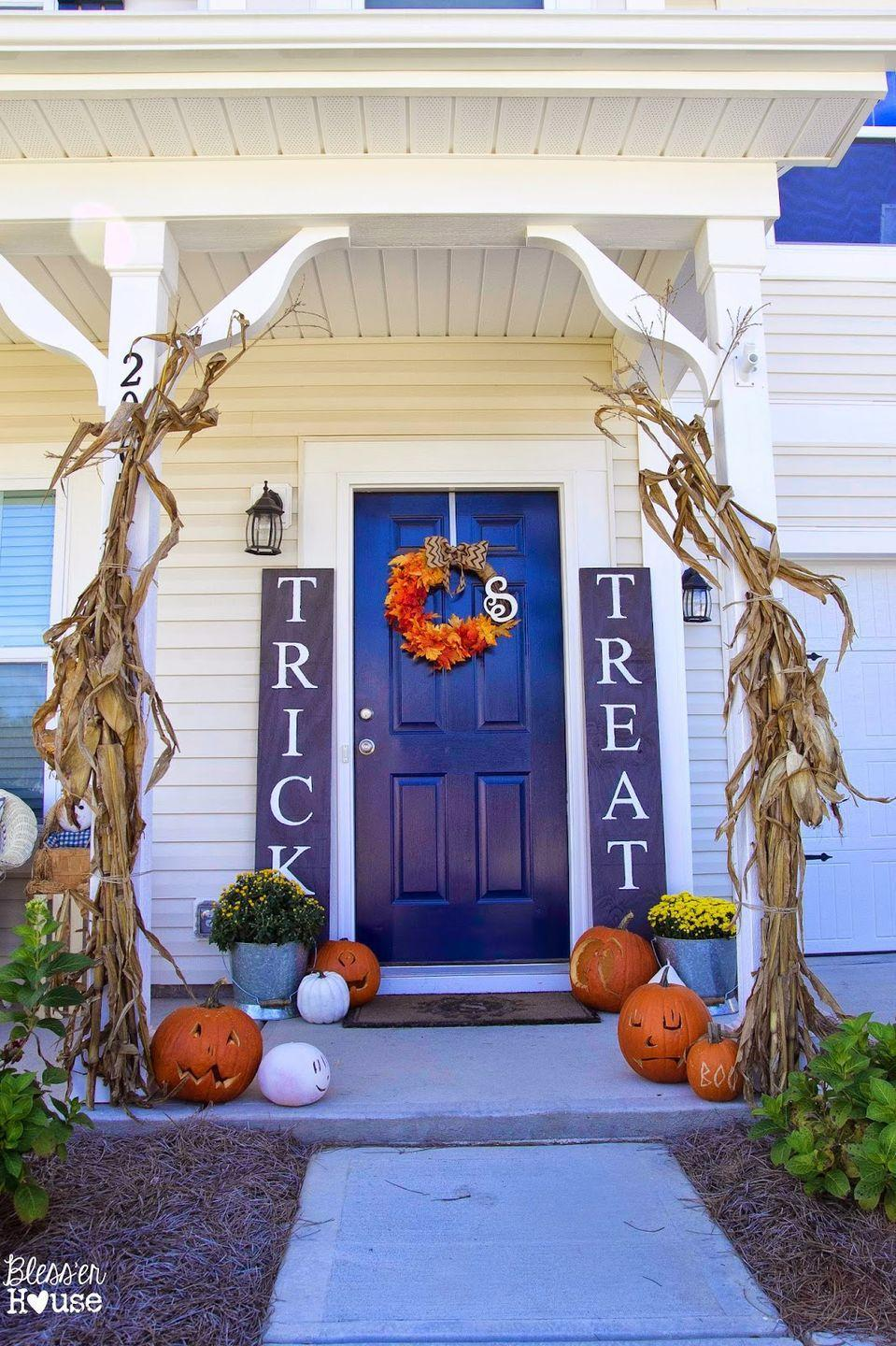 """<p>Welcome trick-or-treaters with these sweet signs.</p><p><strong>Get the tutorial at <a href=""""https://www.blesserhouse.com/diy-halloween-sidelight-signs-and-fall/"""" rel=""""nofollow noopener"""" target=""""_blank"""" data-ylk=""""slk:Bless'er House"""" class=""""link rapid-noclick-resp"""">Bless'er House</a>.</strong> </p>"""