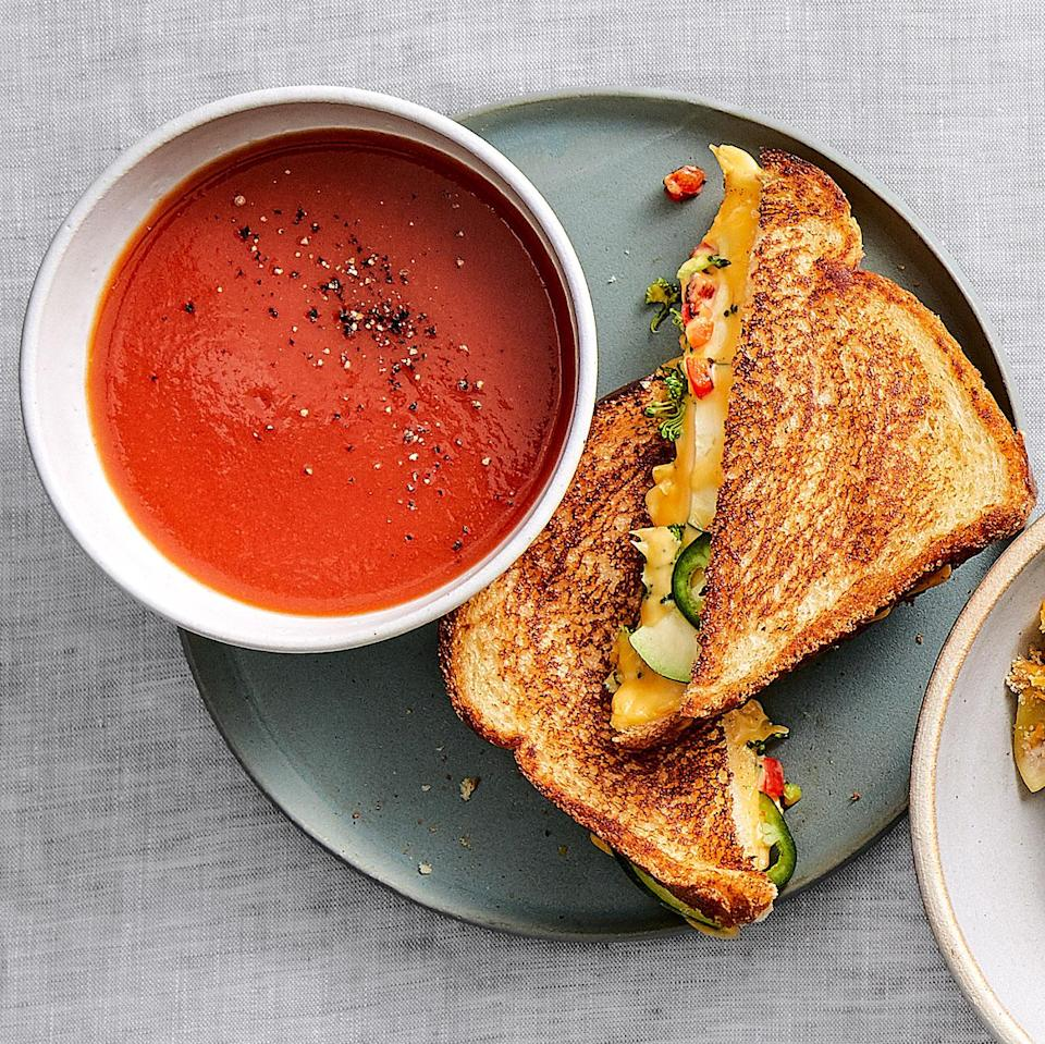 "<p>Maya Feller, M.S., RD, CDN, of Brooklyn-based Maya Feller Nutrition, upgrades this popular budget-friendly combo. ""Adding veggies to a classic sandwich—in this case, broccoli, zucchini and red bell pepper—boosts the nutrient-density of the meal,"" she says.</p>"