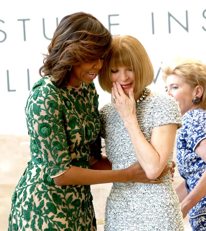 NEW YORK, NY - MAY 05: (L-R) First Lady of the United States Michelle Obama, Vogue Editor in Chief Anna Wintour and Metropolitan Museum of Art President Emily K. Rafferty attend the Anna Wintour Costume Center Grand Opening at the Metropolitan Museum of Art on May 5, 2014 in New York City. (Photo by Paul Zimmerman/WireImage)