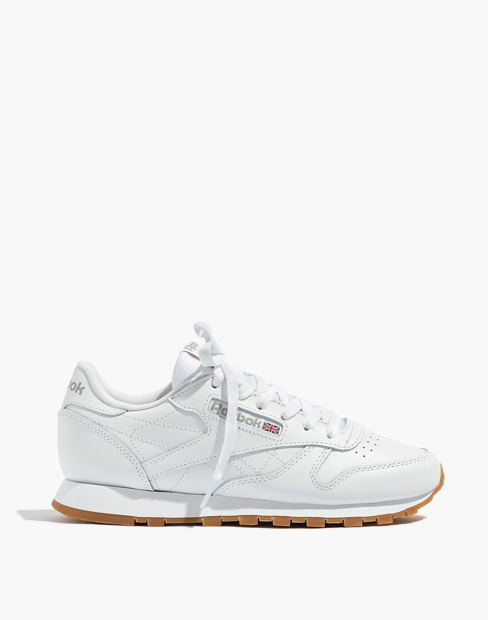 "<p><strong>Reebok</strong></p><p>madewell.com</p><p><strong>$75.00</strong></p><p><a href=""https://go.redirectingat.com?id=74968X1596630&url=https%3A%2F%2Fwww.madewell.com%2Freebokreg%253B-classic-leather-sneakers-99105941302.html&sref=https%3A%2F%2Fwww.seventeen.com%2Ffashion%2Ftrends%2Fg32826210%2Fclassic-white-sneakers%2F"" rel=""nofollow noopener"" target=""_blank"" data-ylk=""slk:Shop Now"" class=""link rapid-noclick-resp"">Shop Now</a></p><p>Another vintage pair of white sneakers that looks oh-so-good with your sweats. Does anyone wear anything else besides sweats and yoga pants anymore? </p>"