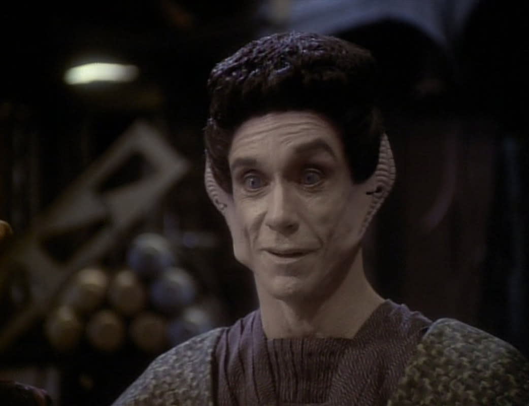 "<p>Here comes Iggy Pop again! The ""Lust for Life"" rocker transformed himself into a real space oddity in a 1997 <em>DS9 </em>episode, playing the Vorta clone, Yelgrun. It was dream casting on the part of writer/producer, Ira Steven Behr, who made a point of hanging out on set with the Stooges frontman as much as possible.<br /><br />(Photo: CBS) </p>"
