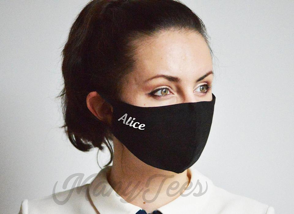 <p>This <span>Customizable Face Mask</span> ($16) is perfect because you'll always know which one is yours. It also makes for a nice little gift.</p>