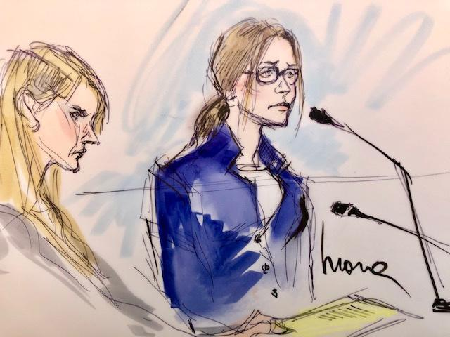 Felicity Huffman in court on Tuesday, as captured by freelance illustrator Mona Shafer Edwards, who has covered trials of stars, including Michael Jackson, Gwyneth Paltrow and O.J Simpson. (Image: Mona Shafer Edwards/Reuters)