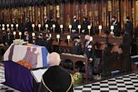 <p>The Queen and the Royal Family have bid farewell to Prince Philiip at a funeral service of just 30 people because of COVID-19 restrictions. (Getty)</p>