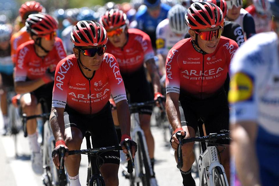 NICE FRANCE  AUGUST 30 Nairo Quintana Rojas of Colombia and Team Arkea  Samsic  Dayer Uberney Quintana Rojas of Colombia and Team Arkea  Samsic  during the 107th Tour de France 2020 Stage 2 a 186km stage from Nice Haut Pays to Nice  TDF2020  LeTour  on August 30 2020 in Nice France Photo by Tim de WaeleGetty Images