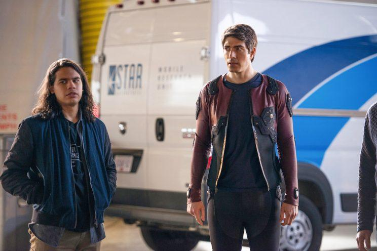 Carlos Valdes as Cisco Ramon and Brandon Routh as Ray Palmer (Credit: The CW)