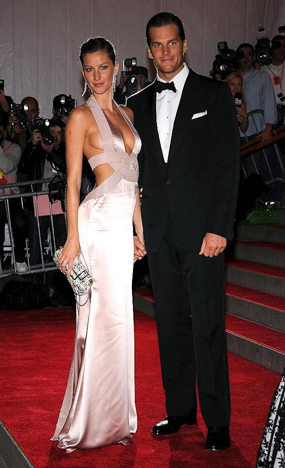 "Gisele Bundchen donned a Versace gown only a supermodel could squeeze into, while Tom Brady looked ever-so-handsome with his hair slicked back. Dmitrios Kambouris/<a href=""http://www.wireimage.com"" target=""new"">WireImage.com</a> - May 5, 2008"