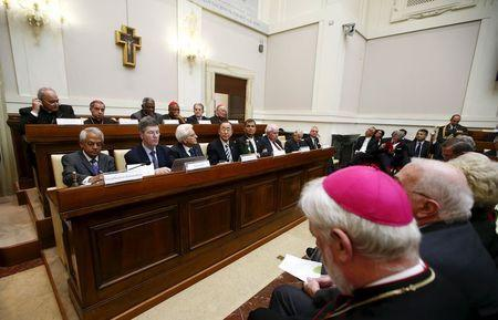 United Nations Secretary-General Ban Ki-moon (4th L 1st row), Italian President Sergio Mattarella (3rd L 1st row) and Ecuador's President Rafael Correa (4th R 1st row) attend a meeting about climate change and sustainable development at the Vatican April 28, 2015. REUTERS/Tony Gentile