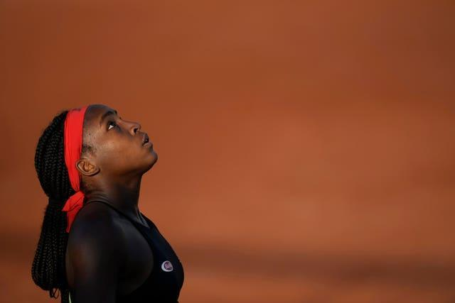 Coco Gauff looks to the sky during her tense victory over Alelsandra Krunic