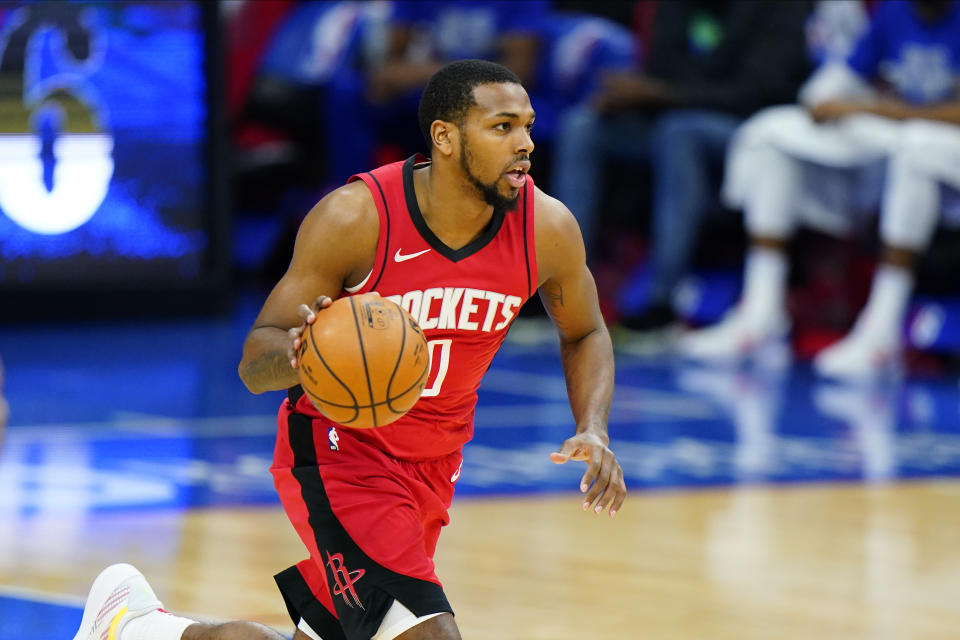 Houston Rockets' Sterling Brown plays during an NBA basketball game against the Philadelphia 76ers, Wednesday, Feb. 17, 2021, in Philadelphia. (AP Photo/Matt Slocum)
