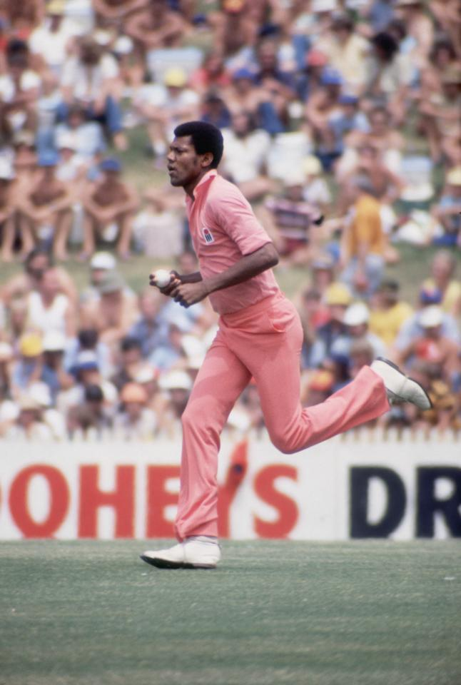 West Indian fast bowler Colin Croft in action, circa 1980. (Photo by Getty Images)