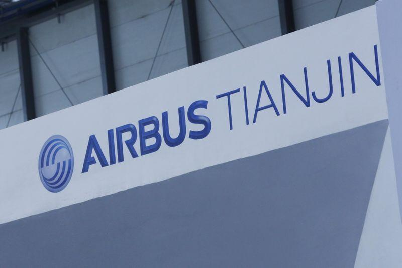 An Aribus Tianjin logo is displayed on a wall at a ground-breaking ceremony for the Airbus A330 completion and delivery center in Tianjin, China