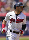 Cleveland Indians' Cesar Hernandez runs the bases after hitting a solo home run in the first inning of a baseball game against the Tampa Bay Rays, Sunday, July 25, 2021, in Cleveland. (AP Photo/Tony Dejak)