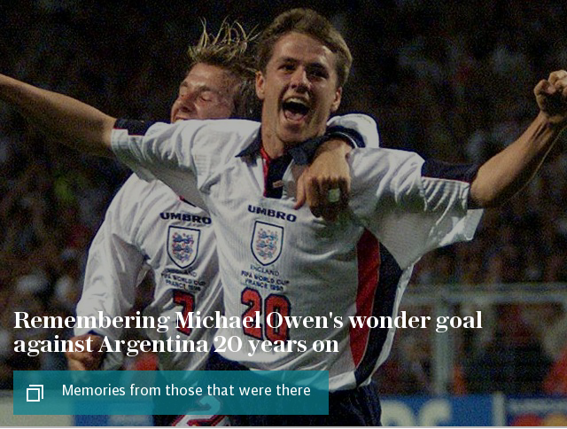Remembering Michael Owen's wonder goal against Argentina 20 years on