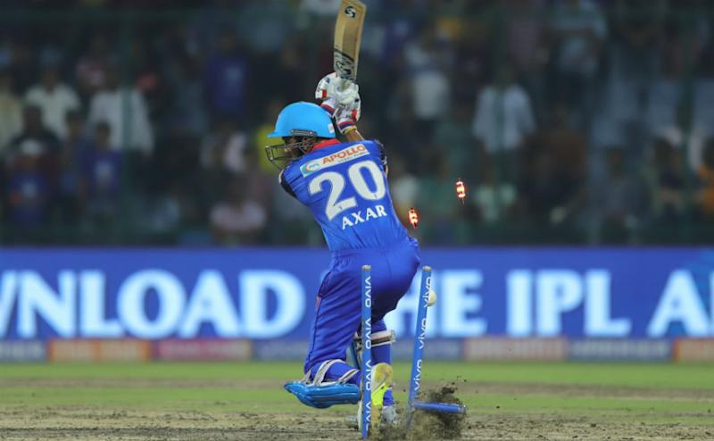Mumbai Indians pacer Jasprit Bumrah was on fire with the ball, uprooting Axar Patel's middle stump to collect his second wicket. Sportzpics