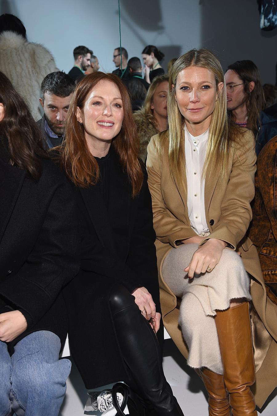 """<p>Actresses Julianne Moore and Gwyneth Paltrow posed together in the front row at the show. Paltrow, who <a href=""""https://www.instagram.com/p/BQVdVVrFMhR/?taken-by=gwynethpaltrow"""" rel=""""nofollow noopener"""" target=""""_blank"""" data-ylk=""""slk:shared on Instagram"""" class=""""link rapid-noclick-resp"""">shared on Instagram</a> that she hasn't been to fashion week in """"yeeears,"""" stuck with neutrals, while Moore opted for an all-black look. (Photo: Getty Images) </p>"""