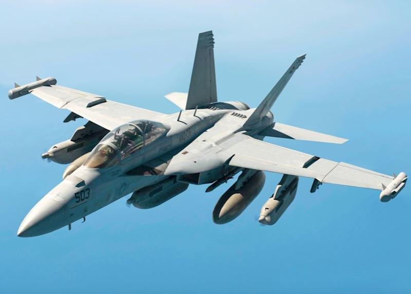 The crew of an EA-18G Growler drew the penis in the sky (Wikipedia/stock photo)