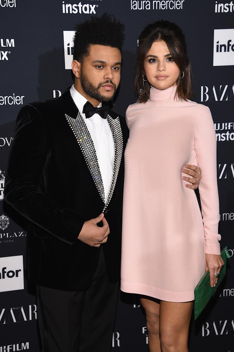 The Weeknd and Selena Gomez pictured in September 2017. (Dimitrios Kambouris via Getty Images)