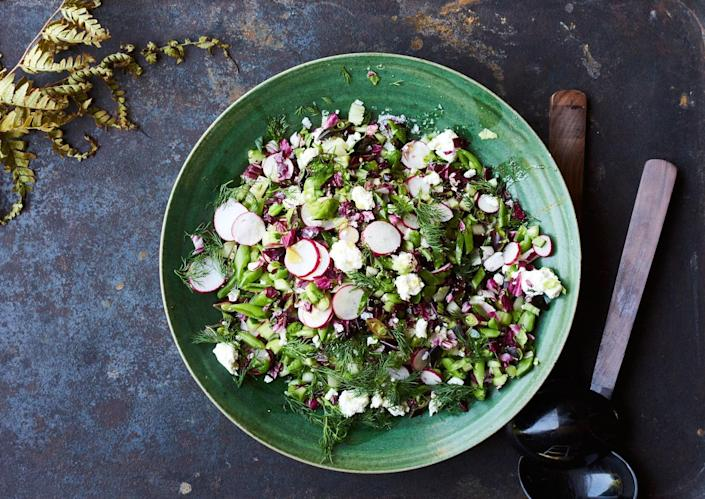 """<a href=""""https://www.bonappetit.com/recipe/chopped-salad-with-shallot-vinaigrette-feta-and-dill?mbid=synd_yahoo_rss"""" rel=""""nofollow noopener"""" target=""""_blank"""" data-ylk=""""slk:See recipe."""" class=""""link rapid-noclick-resp"""">See recipe.</a>"""
