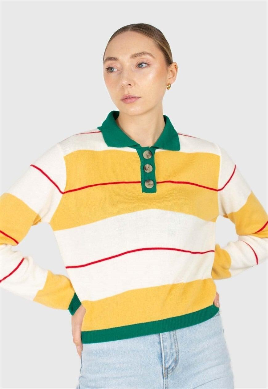 """<br><br><strong>Glassworks London</strong> Green and Yellow Thick Multistriped Polo Knit Top, $, available at <a href=""""https://marketplace.asos.com/listing/tops/green-and-yellow-thick-multistriped-polo-knit-top/6032400"""" rel=""""nofollow noopener"""" target=""""_blank"""" data-ylk=""""slk:asos marketplace"""" class=""""link rapid-noclick-resp"""">asos marketplace</a>"""