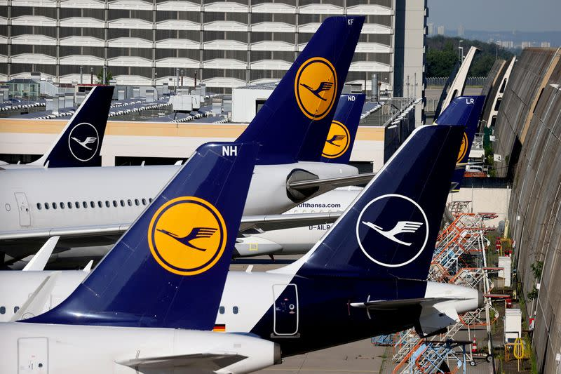 FILE PHOTO: Lufthansa planes are seen parked on the tarmac of Frankfurt Airport, Germany