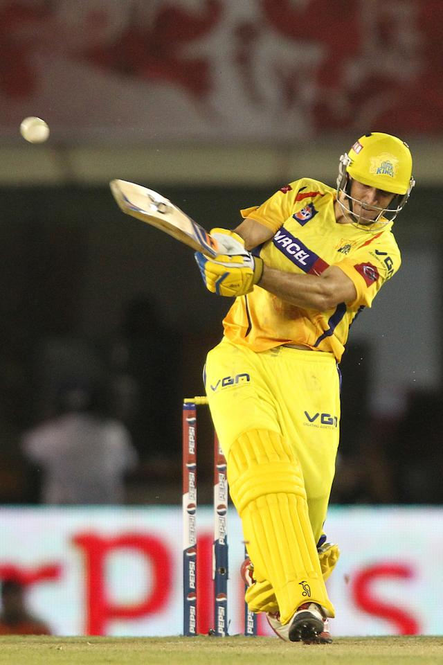 Michael Hussey of Chennai Super Kings pulls a delivery to the boundary during match 11 of of the Pepsi Indian Premier League between The Kings XI Punjab and the Chennai Superkings held at the PCA Stadium, Mohal, India  on the 10th April 2013..Photo by Shaun Roy-IPL-SPORTZPICS  ..Use of this image is subject to the terms and conditions as outlined by the BCCI. These terms can be found by following this link:..https://ec.yimg.com/ec?url=http%3a%2f%2fwww.sportzpics.co.za%2fimage%2fI0000SoRagM2cIEc&t=1490772872&sig=L.7QMgXOrz53yBDUc_lJrg--~C